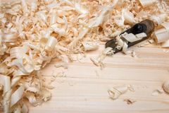 Jointer and softwood shavings on boards Stock Photo