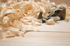 Jointer and softwood shavings on boards Stock Image
