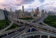 Crossing Highway, Shanghai. Jointing point of two main elevated highway during the  afterwork traffic hours in Shanghai, China Stock Images
