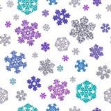 Jointless textuur van verschillende sneeuwvlokken op witte achtergrond Stock Foto