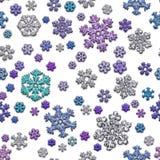 Jointless textuur van verschillende sneeuwvlokken op witte achtergrond Stock Foto's
