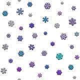 Jointless textuur van verschillende sneeuwvlokken op witte achtergrond Royalty-vrije Stock Fotografie