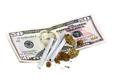 Joints with buds and money Stock Images