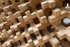 Joints en bois au pavillon du Japon, EXPO Milan 2015 Photographie stock libre de droits