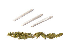 Joints and row of marijuana Stock Photo