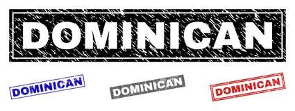 Joints texturisés DOMINICAINS grunges de timbre de rectangle illustration stock