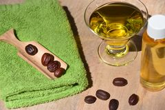 Jojoba oil and seeds on a wood surface Royalty Free Stock Photo