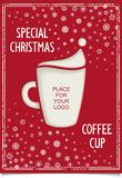 Joke Christmas poster with stylized coffee cup. Fun Vintage Christmas poster design for restaurant and cafe with a cup of coffee and a stylized Santa Claus hat Stock Photos