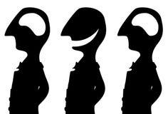 Joke Empty Head Silhouette. Joke cartoon brainless three person black silhouette, vector illustration, horizontal, isolated, over white Stock Photo
