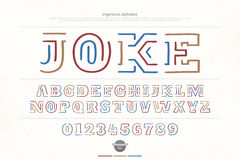 Joke Ethnic style alphabet letters and numbers Stock Photography