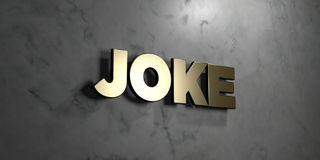 Joke - Gold sign mounted on glossy marble wall  - 3D rendered royalty free stock illustration Stock Photography