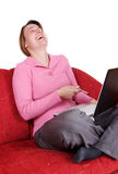 Joke with laptop Royalty Free Stock Image