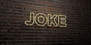 JOKE -Realistic Neon Sign on Brick Wall background - 3D rendered royalty free stock image Royalty Free Stock Images