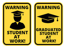 Joke sign. Student at work joke humorous Sign. Vector EPS 8 Set Royalty Free Stock Photography