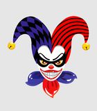 The cartoon face of the character Joker, as well as a creepy clown. Vector illustration on gray background. The cartoon face of the character Joker, as well as a stock illustration