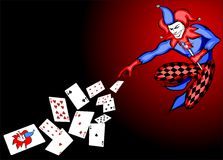 Joker. Throwing poker cards vector Royalty Free Stock Photography