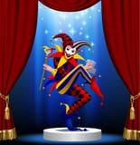 Joker avec jouer les cartes et le miroir dans la lumière bleue sur le p rond illustration stock