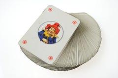 Joker bij de bovenkant van speelkaartdek Royalty-vrije Stock Foto