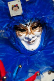 Joker blue mask. In venice during carnival Royalty Free Stock Photos