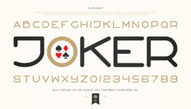 Joker bold. Set of stylish alphabet letters and numbers.  contemporary, bold font type. modern entertainment typeface design. poker game concept, decorative Stock Images