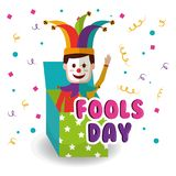 Joker in the box prank waving hand fools day. Vector illustration Royalty Free Stock Photo