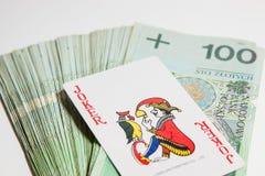 Joker card on Polish money Stock Images