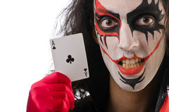 Joker with cards isolated Royalty Free Stock Photography