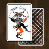 Joker Cards Realistic Illustration. Joker cards on wooden background with poker casino title realistic vector illustration Royalty Free Stock Images