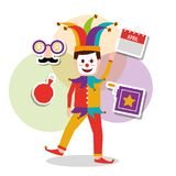 Joker character mask box. Cushion and calendar royalty free illustration