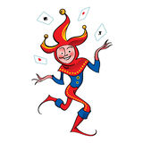 Joker Clown. From circus in hubcap with playing cards royalty free illustration