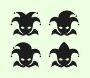 Joker in clown cap with bells icons set. Joker symbols in clown cap with bells vector icons set stock illustration