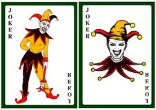 Joker in colorful costume playing card. Vector royalty free illustration