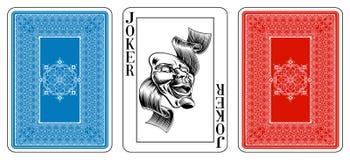 Joker de taille de tisonnier jouant la carte plus l'inverse Images stock