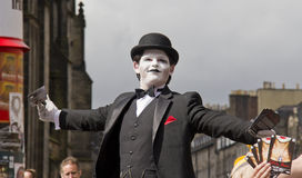 Joker at Edinburgh Festival. EDINBURGH, UK: AUGUST 2: Unidentified actor of Don Juan of Jackinabox Productions hands out flyers on the street at the Edinburgh Stock Images