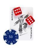 Joker, een teller en kubussen Stock Foto