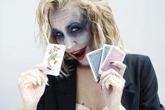 Joker face. Scary painted dramatic joker face Royalty Free Stock Photos