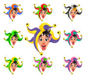 Joker faces in different colors Royalty Free Stock Image
