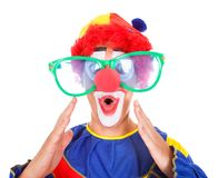 Joker With Funny Eyeglasses. Close-up Of A Funny Joker With Big Eyeglasses Royalty Free Stock Photo