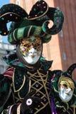 Joker funny gaze. Funny gaze on the green joker mask. Venice carnival 2012 Stock Photography