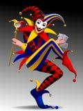 Joker grimaçant et de sourire tridimensionnel avec jouer des cartes Image stock
