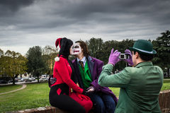 Joker and Harley Quinn are kissing Stock Photo