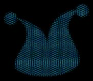 Joker Hat Mosaic Icon of Halftone Spheres. Halftone Joker hat composition icon of empty circles in blue color tinges on a black background. Vector empty circles Stock Image
