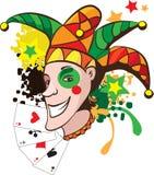 Joker  illustration. Smiling joker with cards and stars  illustration Royalty Free Stock Images