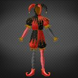 Joker or jester costume, playing card character. Joker or jester costume isolated on transparent background. Playing card, comedian or Venice masquerade royalty free illustration