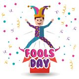Joker jumping jack in the box surprise fools day. Vector illustration Royalty Free Stock Image