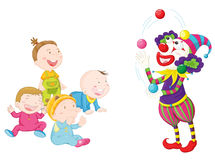 Joker with kids Royalty Free Stock Image
