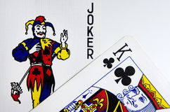 Joker and King Cards Royalty Free Stock Images
