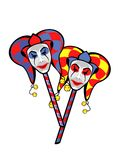 Joker mask on a stick Stock Image