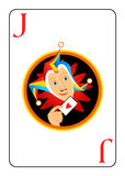 Joker playing card. Sly harlequin head at the center of Joker playing card Royalty Free Stock Image