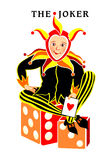 Joker playing card. Young harlequin sitting on dices with ace in hand Stock Photo